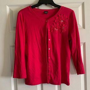 Rafaella fuchsia buttoned cardigan w/embellishment